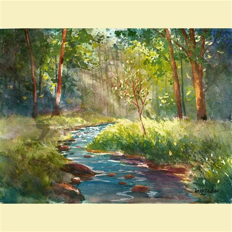 watercolor landscape painting print creek and tree summer