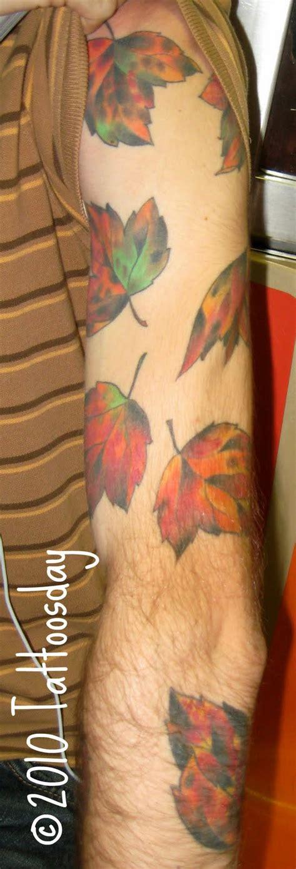 steve s tattoo steve s sleeve of leaves ushers in the fall season