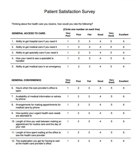 patient satisfaction survey template sle patient satisfaction survey 9 documents in pdf word