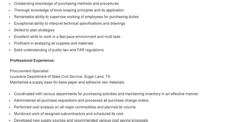 Procurement Specialist Resume by Resume Sles Sle Procurement Specialist Resume