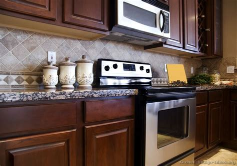 tile backsplash ideas for cherry wood cabinets modern