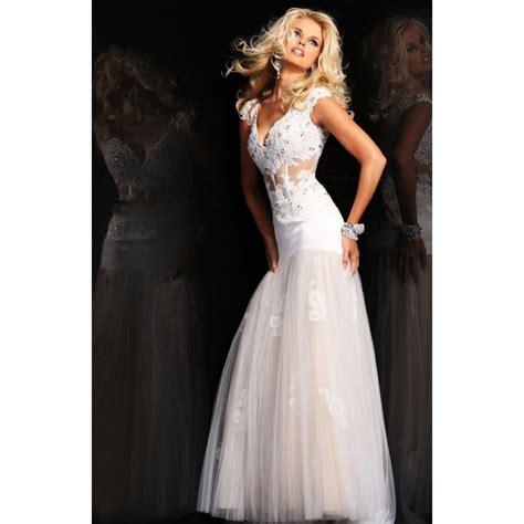 dropped v neck beading lace tulle white prom dress