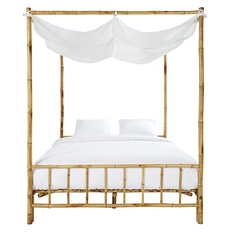 letto baldacchino maison du monde letto a baldacchino 160 x 200 in bamb 249 e tessuto bianco