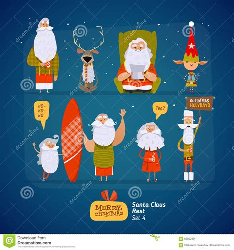 Set Santa santa claus set stock vector image 63802390