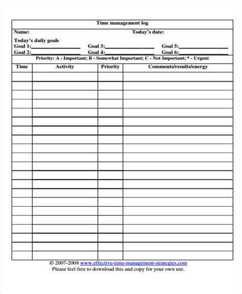 time management log template 23 time log templates
