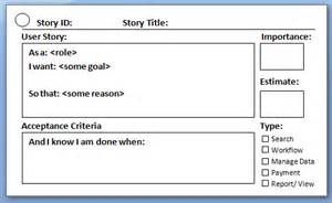 user story template word agile