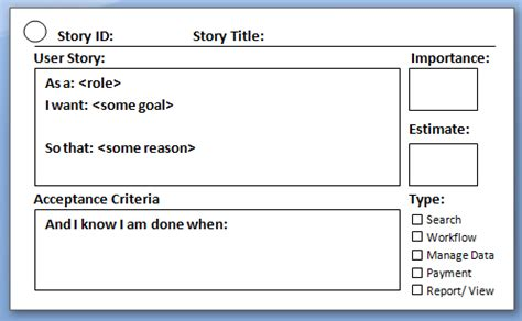 scrum story cards template agile