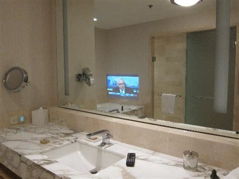 Tv In A Mirror Bathroom Tv Fitted In The Bathroom Mirror Picture Of Four Seasons Hotel Seattle Seattle Tripadvisor