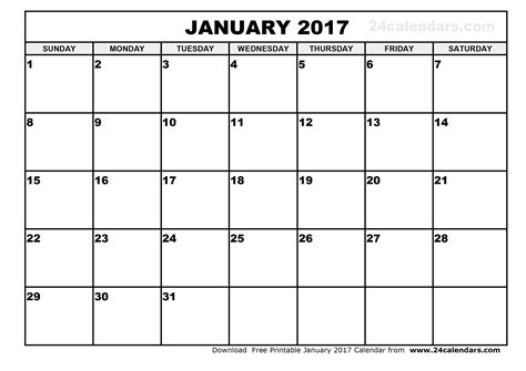 January 2017 Calendar Canada   weekly calendar template