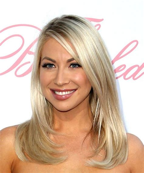 hairstyles with light bangs stassi schroeder medium straight casual hairstyle with side swept bangs light blonde ash