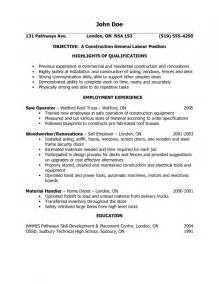 general laborer summary of qualifications sle resume