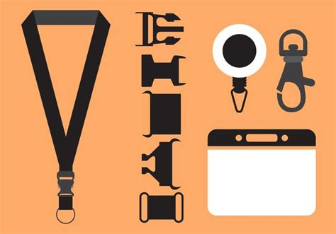lanyard card size template vector set of lanyard accessories free vector
