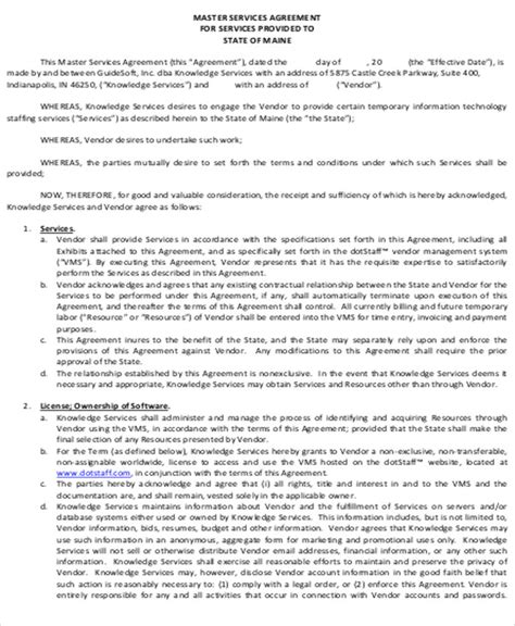 sle vendor contract agreement 8 exles in word pdf