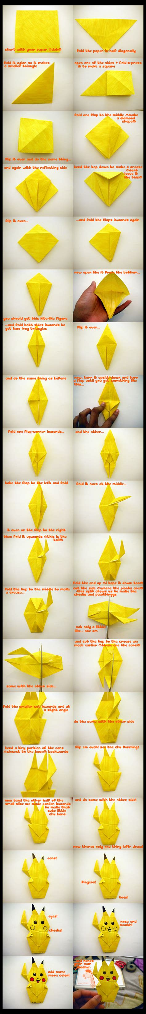 How To Make A Pikachu Origami - how to make an origami pikachu origami pok 233 mon and craft