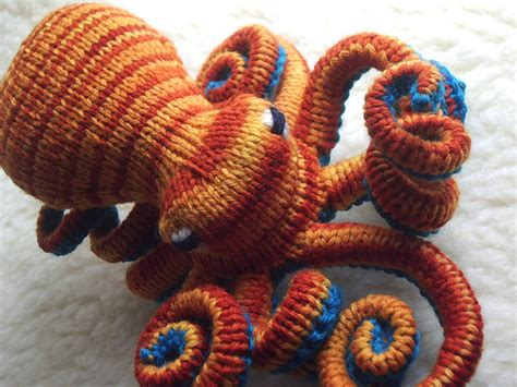 knitted octopus flushed octopus coral reefs crochet and amigurumi
