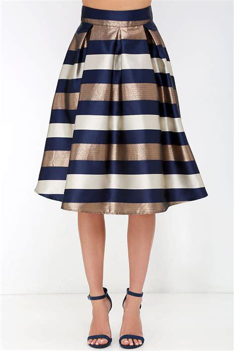 striped skirt midi skirt navy blue and bronze skirt
