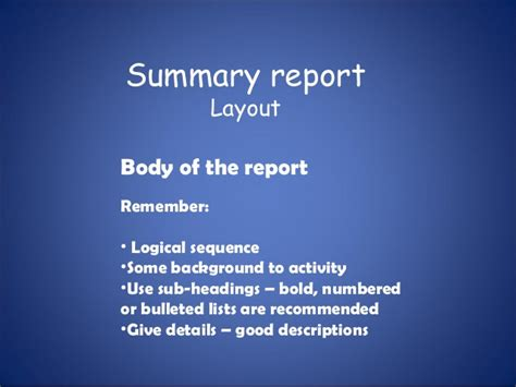 layout of a summary report summary report presentation