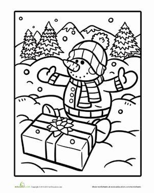 Snowman to color coloring page education com