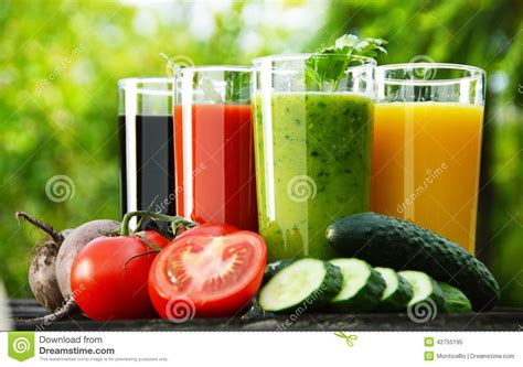 Garden Of Detox Diet by Glasses With Fresh Vegetable Juices In The Garden Detox