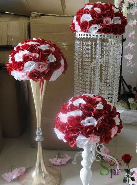 mix red white wedding kissing flower ball cm holiday