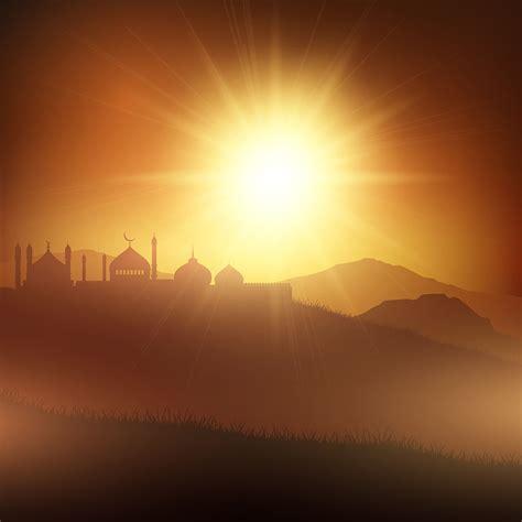 ramadan background  mosques  sunset