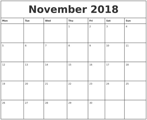 2018 Printable Monthly Calendar November 2018 Printable Monthly Calendar