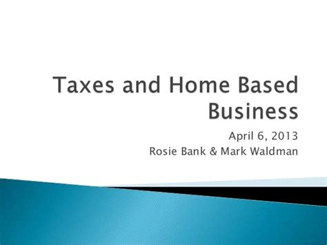 taxes and home based business