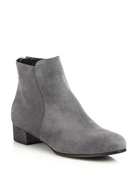 prada suede flat ankle boots in gray lyst
