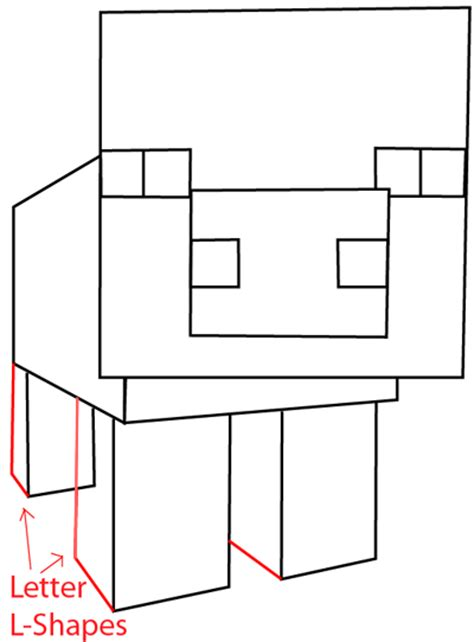 how to draw pig from minecraft with easy step by step