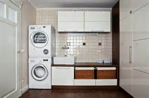 Laundry room interior main decoration features in the basement room