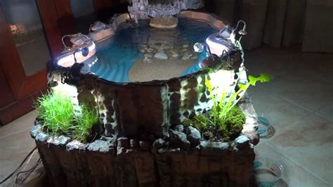 how to make an indoor fish pond diy indoor pond with waterfall youtube