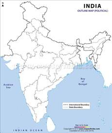 India Outline Map Coloured by India Political Map In A3 Size