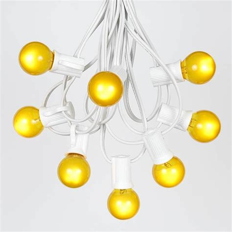 Yellow Satin G30 Globe Round Outdoor String Light Set On Yellow String Lights