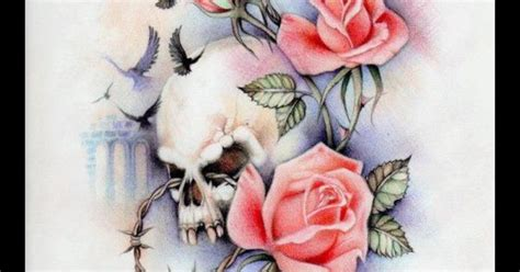 intertwined rose tattoos morphed skull intertwined within roses props