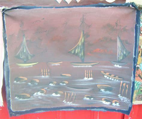 boten online volgen boten op de zee origineel schilderij op doek volkskunst