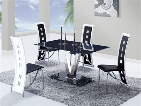 Dinette Chairs Fixed Black Glass Top Leather Dinette Tables And Chairs