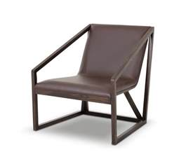 taranto modern brown leather lounge chair
