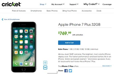 cricket iphone 7 and iphone 7 plus now available prepaid mobile phone reviews