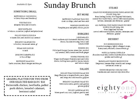 sunday brunch buffet menu sunday brunch eightyone