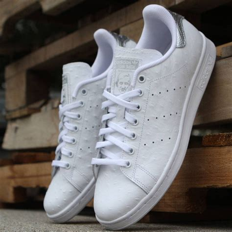 Adidas Silver adidas stan smith ostrich leather white silver