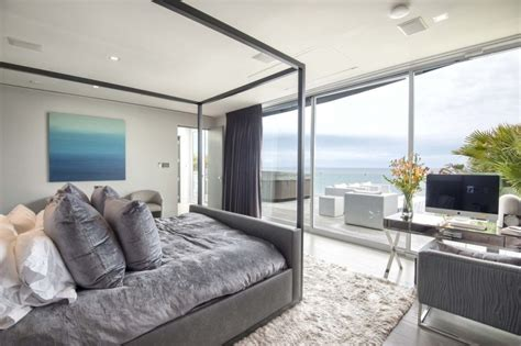 modern day malibu beach house combines modern interiors malibu modern beach house master bedroom grey cococozy