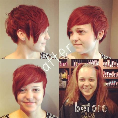 pixie hairstyles before and after before and after transformation pixie cut and red 2013