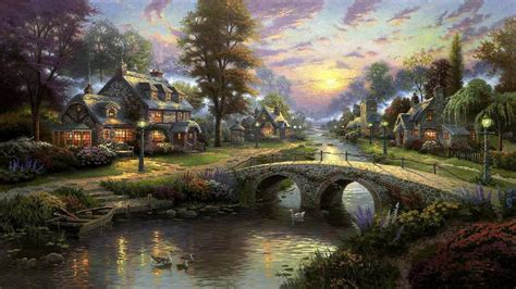 free wallpaper village village stream hd desktop wallpaper widescreen high