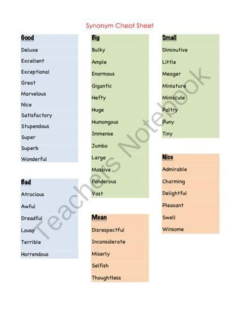synonym for swing free synonym cheat sheets from speech language