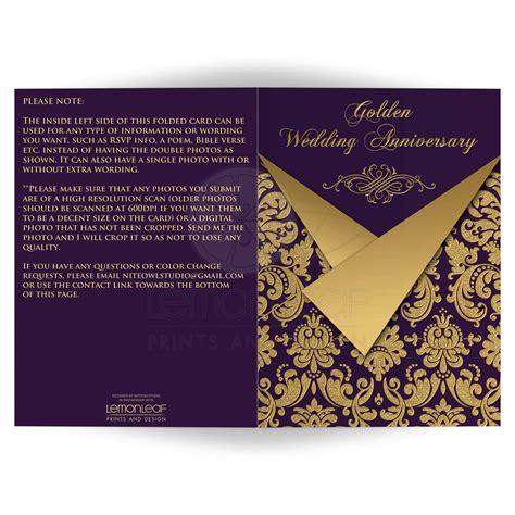 Royal Wedding Anniversary Card by Any Anniversary Invitation Card Optional Photos Purple