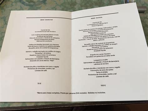 carta de un restaurante menu y carta del restaurante disfrutar yummy barcelona