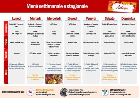 piano alimentare vegetariano menu settimanale vegano crudista igienista autunnale