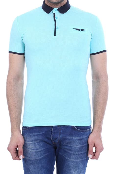 Buttoned Sleeve T Shirt buttoned navy collar lined sleeve turquoise polo t shirt