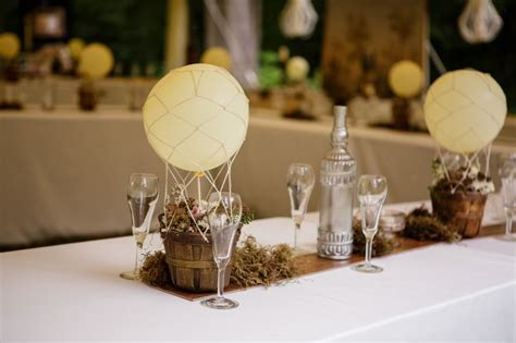 hot air balloon centerpieces wedding reception