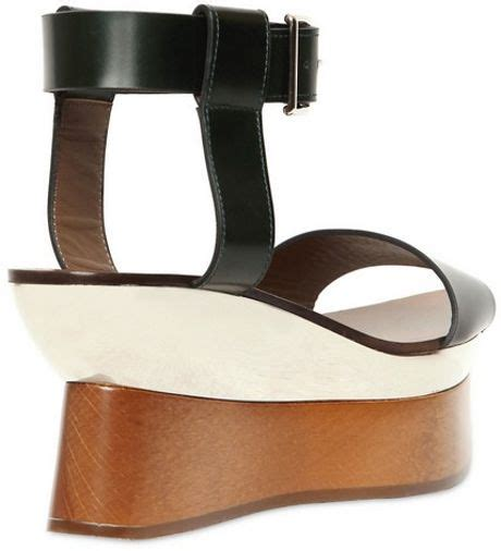 marni 85mm calfskin mirror plaque wedges in black lyst